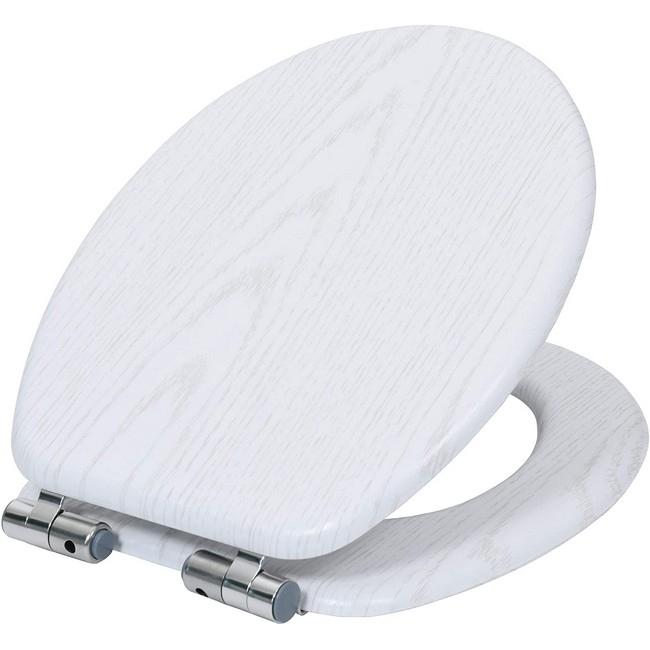 Bisk WC ülőke MDF faerezetű fehér Softclose 07907