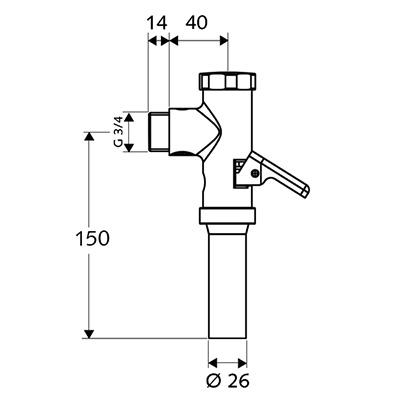 Schell Schellomat WC öblítőszelep 022380699 műszaki rajz