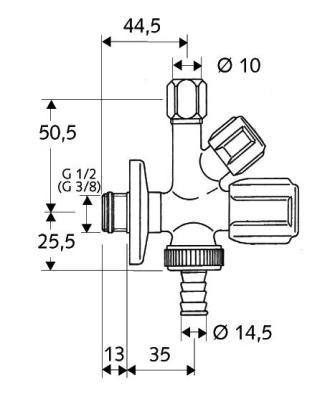 Schell sarokszelep kombinált COMFORT tömlővéggel 035510699 műszaki rajz