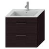 Jika Cube fürdőszobaszekrény mosdóval komplett 65 cm 2 fiókos tölgy