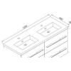 Wellis Nina beépíthető dupla mosdó 120 cm WB00284 rajza