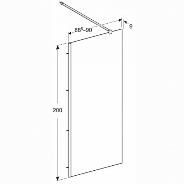 Kolo GEO Walk-In oldalfal ezüst profil átlátszó Reflex üveg 200x90 cm