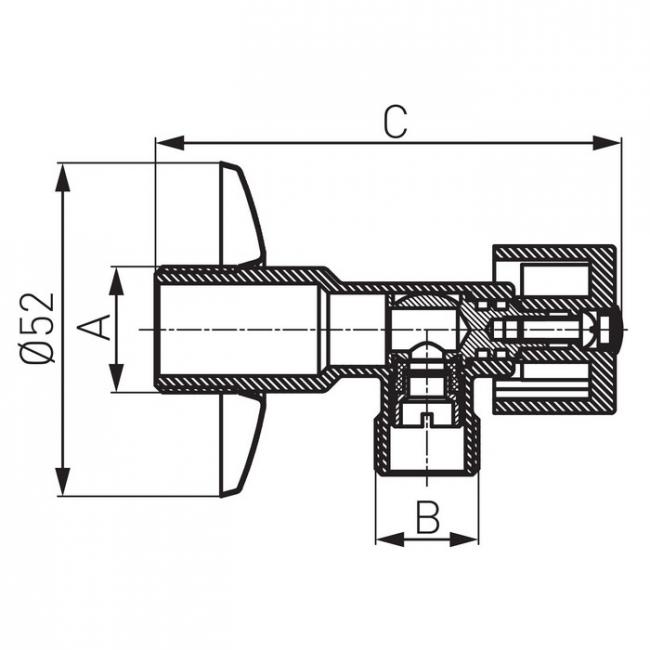 Ferro Z1238MK 75 mm sarokszelep G1/2 G3/8 rajza