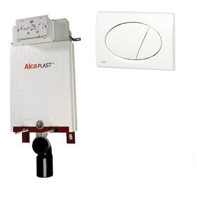 Alcaplast A100 beépíthető WC tartály szett  fehér nyomólappal s011