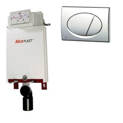 Alcaplast A100 beépíthető WC tartály szerelőkeret nélkül matt króm nyomólappal s013