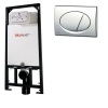 Alcaplast A101 beépíthető WC tartály szerelőkerettel fényes króm nyomólappal s015