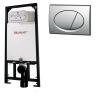 Alcaplast A101 beépíthető WC tartály szerelőkerettel matt króm nyomólappal s016