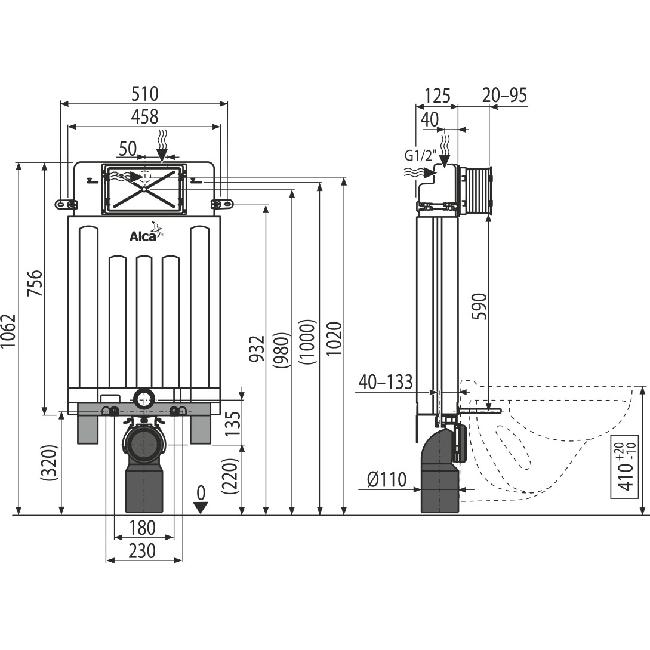 Alcaplast ALCAMODUL AM100 beépíthető WC tartály AM100/1000 rajza