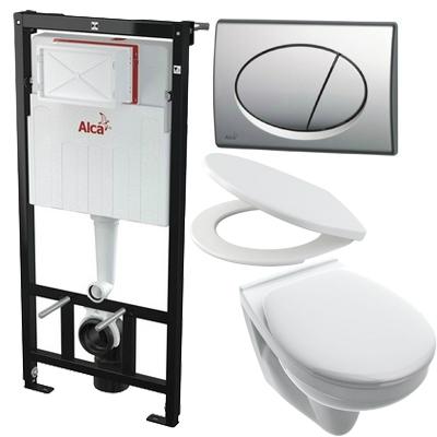 Alcaplast AM101 beépíthető WC tartály SZETT matt króm nyomólappal s009 SANISET009