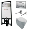 Alcaplast sarokba építhető WC tartály SZETT matt króm nyomólappal s109