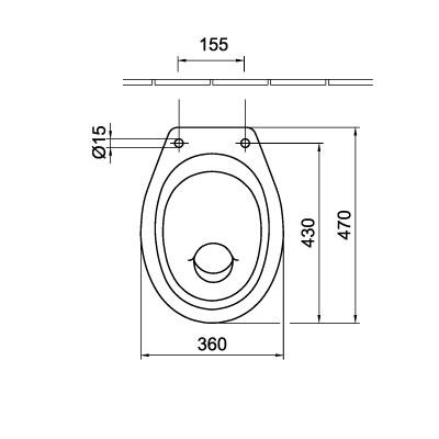 Alföldi Bázis laposöblítésű hátsó kifolyású álló WC csésze fehér műszaki rajza