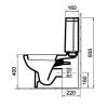 Alföldi LINER monoblokkos WC csésze műszaki rajz oldalnézet