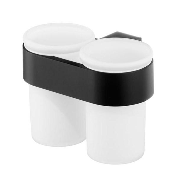 Bisk FUTURA BLACK dupla fogmosópohár és pohártartó