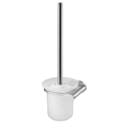 Bisk SIDE Brushed nikkel fali WC kefe üveg tartóval