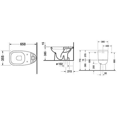 Duravit D-CODE monoblokkos WC csésze alsó kifolyású 21110100002 műszaki rajz