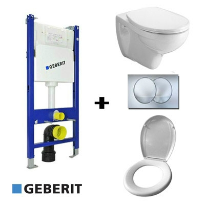 Geberit beépíthető WC tartály szett gipszkartonfalhoz Alföldi Saval WC-vel