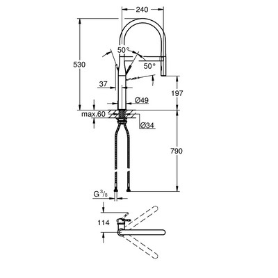 Grohe Essence mosogató csaptelep rugalmas kifolyóval GR-30294DC0 rajza