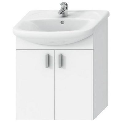 Jika Lyra pack fürdőszobaszekrény 65 cm mosdóval komplett 2 ajtóval fehér fehér