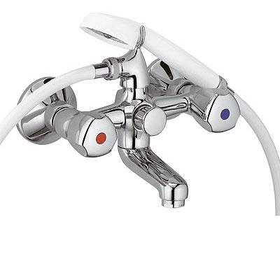 Kludi Standard fali kádtöltő és zuhanycsaptelep fehér zuhanyszettel króm