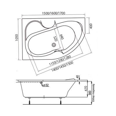 M-acryl AZALIA aszimmetrikus sarokkád akril 170X105-ös JOBBOS MAC ...