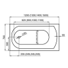 M-Acryl Mira egyenes kád akril 120x70 cm MAC-12191 műszaki rajz