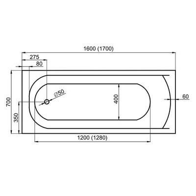 M-Acryl Mira egyenes kád akril 160x70 cm MAC-12194 műszaki rajz