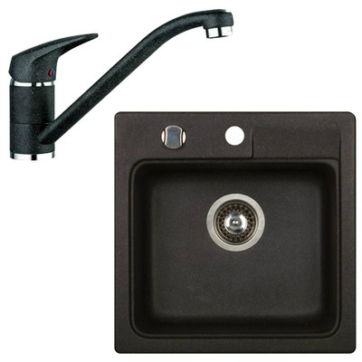Marmorin ISAO szögletes gránit mosogató szett fekete 470103002szett1