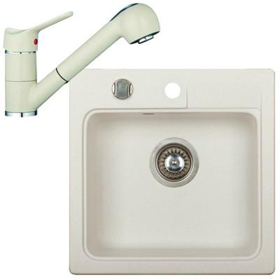 Marmorin ISAO szögletes gránit mosogató szett fehér 470103006szett2