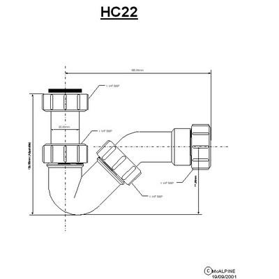 McAlpine bidészifon cső nélkül 32 mm HC22 rajza