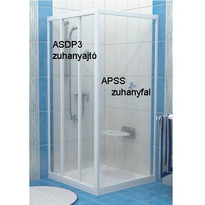 Ravak SUPERNOVA APSS-75 zuhanyfal fehér profil transparent üveg