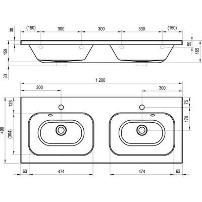 Ravak Chrome 1200 dupla mosdó rejtett túlfolyóval XJG01212000