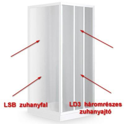 Roltechnik LD3 900 háromrészes zuhanyajtó fehér profil grape betét