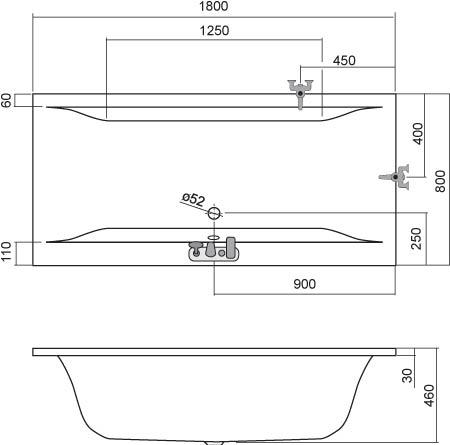 Roltechnik SAVONA egyenes fürdőkád akril 8980000