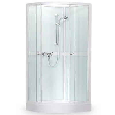 Roltechnik SIMPLE íves zuhanybox 80 transparent üveg fehér profil 4000248