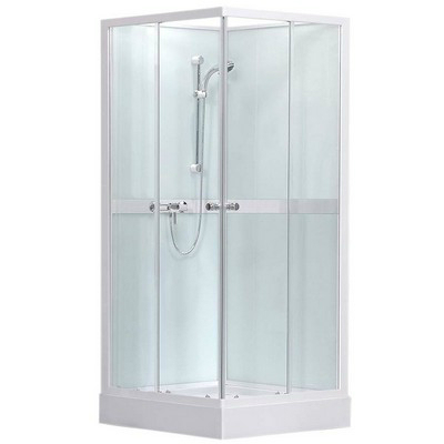 Roltechnik SIMPLE SQUARE szögletes zuhanybox 90 transparent üveg fehér profil 4000693
