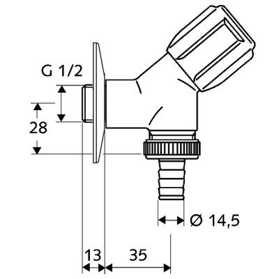 Schell Comfort mosógépcsap G 1/2 col ferdeülésű 033860699 műszaki rajz