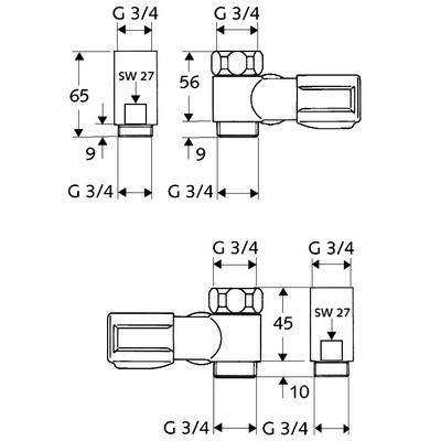 Schell Comfort mosógépcsap G 3/4 csaphosszabítós balos 033440699 műszaki rajz