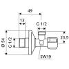 Schell Comfort sarokszelep G 1/2 G 1/2 052170699 műszaki rajz