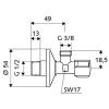 Schell Comfort sarokszelep G 1/2 G 3/8 052120699 műszaki rajz