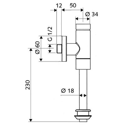 Schell Schellomat Basic 2476 vizelde öblítőszelep 024760699 műszaki rajz