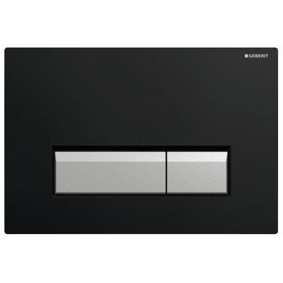 Geberit Sigma 40 nyomólap fekete műanyag aluminium kombináció szagelszívóval