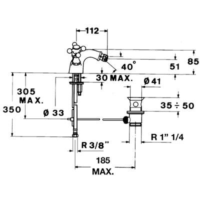 Teka 1820 álló bidé csaptelep automata leeresztővel króm 56.622.51 műszaki rajz
