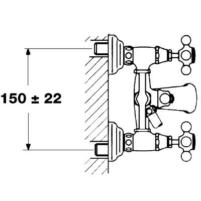 Teka 1820 fali kádtöltő csaptelep zuhanyszettel 56.122.51 műszaki rajz