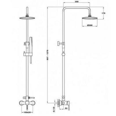 Teka ALAIOR zuhanyrendszer komplett 55.298.02.00 műszaki rajz
