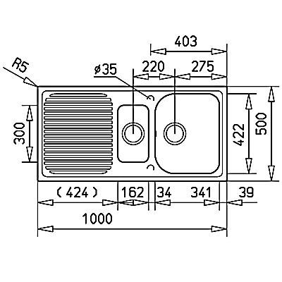 Teka Alba 60B gránit mosogató műszaki rajz felül nézet
