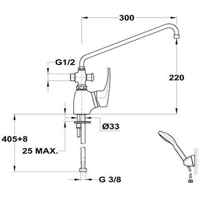 Teka MB2 KMT egykaros kád mosdó töltő csaptelep zuhanyszettel króm 40.947.02 műszaki rajz