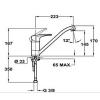 Teka MB2 egykaros mosogató csaptelep króm 40.913.02 műszaki rajz