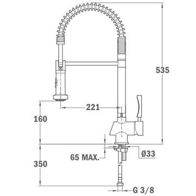 Teka MY1  mosogató csaptelep kihúzható zuhanyfejjel 18.160.02 műszaki rajz