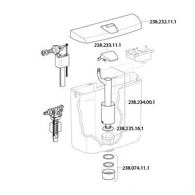 Geberit AP110 WC tartályhoz öblítőszelep