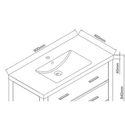 Wellis Soria beépíthető mosdó 90 cm WB00336 rajza